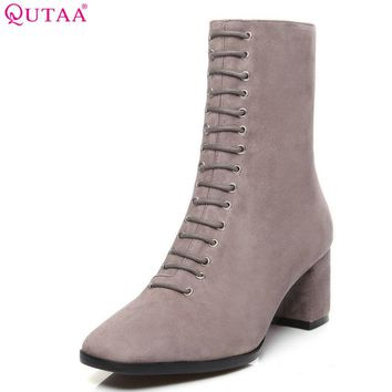 QUTAA 2018 Women Boots Mid Calf Square High Heel Fashion Kid Suede + Pu Black Square Toe Winter Motorcycle Boots Size 34-39