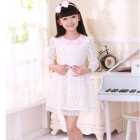 2014 New Arrival Baby Kids Children's Girls Long Sleeve Lace Princess Dress With Belt