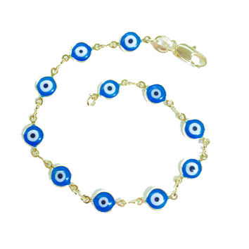Evil Eye Blue Beads Gold Plated Bracelet