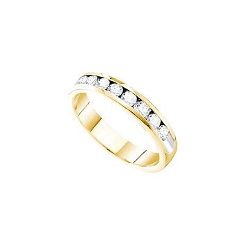 14kt Yellow Gold Womens Round Channel-set Diamond 4mm Wedding Band 3/4 Cttw