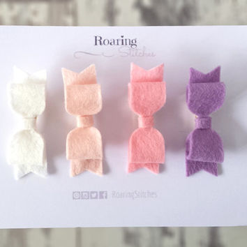 Mini hair clips - 4 pastel wool felt baby hair bows in cream, blush, pink and pale purple