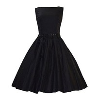 MapleClan Vintage 50s Audrey Hepburn Style Swing Rockabilly Evening Dress