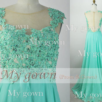2014 Prom Dress,Straps Lace Beads Chiffon Green Prom Dress, Wedding Dress, Evening Gown,Formal Dresses,Evening Dress