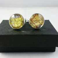 Custom London Map Cufflinks, Mens Cufflinks, Custom Cufflinks, Special Gift for Fathers, Groom, Husbands