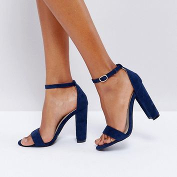 Glamorous Navy Barely There Block Heeled Sandals at asos.com
