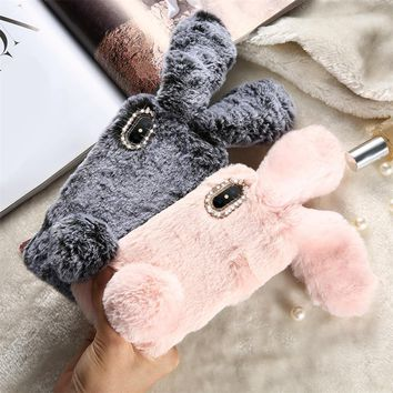 DOEES Christmas Rabbit Case For iPhone X 8 7 Plus Cute Cover For iPhone 6 6S Plus 5 5S SE 5C 4 Case Silicone Diamond Bling Coque
