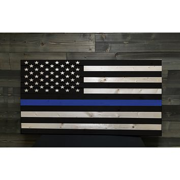 Police Thin Blue Line Engraved Wood Rustic Style Flag