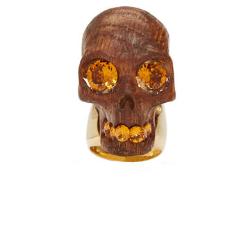 Alexander Mcqueen Wood Carved Skull Gold Band Ring