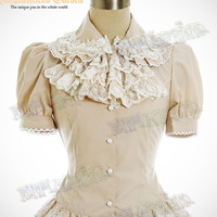 Classical Gothic Lolita:Short Sleeves Blouse&Embroidery Frilly Jabot*3color Instant Shipping