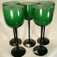 set of 5 retro mod very tall green cased by valeriesvintagehome