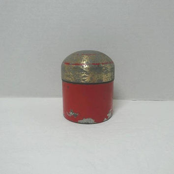 1940s Red Domed Tin, Heavier Weight Tin, 3.75 Inches Tall, Storage or Kitchen Tin, Vintage Cottage Chic Decor, Worn Paint, Container