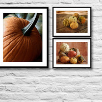 Rustic kitchen decor, autumn kitchen art, kitchen print set, kitchen wall decor print, food photography, pumpkins photo print, fall home art