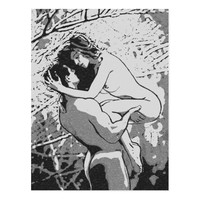 Erotic nude couple, this is passion, sexy black postcard