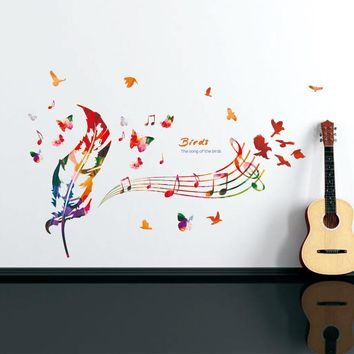 Colored feather Musical Notes Vinyl Wall Deco