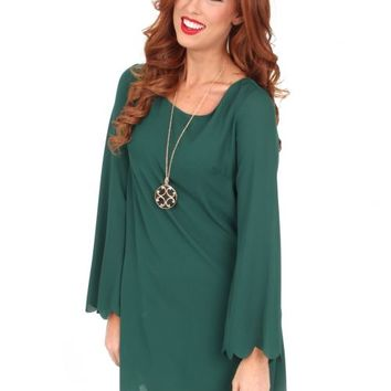 Hey Pretty Girl Hunter Green Scalloped Shift Dress | Monday Dress Boutique