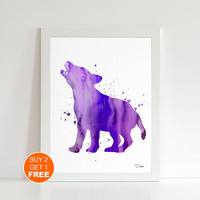 Baby wolf watercolor print , Art print, wolf nursery decor, wolf art, Kids gift, Nursery art, home decor, baby gift
