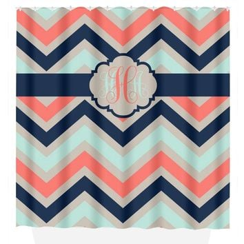 Chevron SHOWER CURTAIN Custom MONOGRAM Personalized Chevron Bathroom Decor Coral Navy Aqua Colors Bath Towel,  Bath Mat