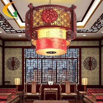 chandelier ceiling Chinese antique wooden lamps sheepskin chandeliers living room chandelier teahouse restaurant lamp