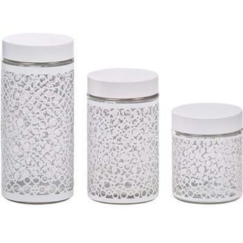 3pc Glass Canister Set Ss Wht