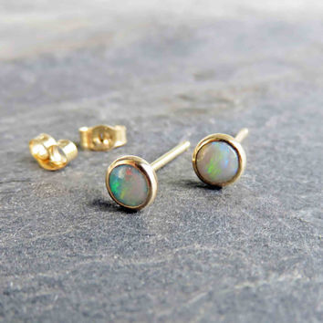 Natural Opal 14k Gold Stud Earrings - 4mm Small Australian Opal Post Earrings - October Birthstone