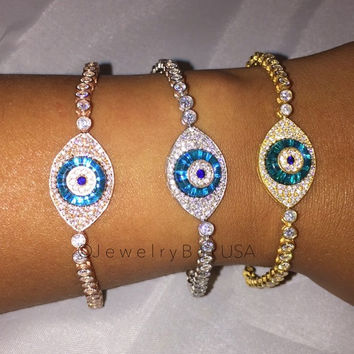 KANDICE EVIL EYE TENNIS BRACELET