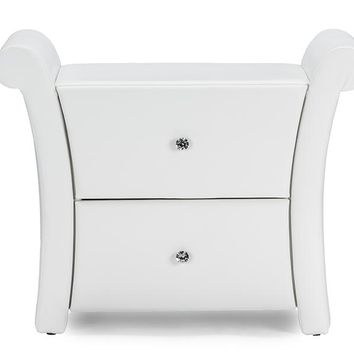 Baxton Studio  Victoria Matte White PU Leather 2 Storage Drawers Nightstand Bedside Table Set of 1