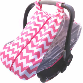 Baby car seat cover - Infant car seat canopy - Summer car seat cover - Summer car seat canopy - pink, navy, or red and black chevron