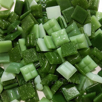 Mosaic tiles | Mosaic art | Decorative mosaic | tiles art | Craft supplies | Glass mosaic | Green Mixed 120g (approx 180pcs) 10x10mm #4
