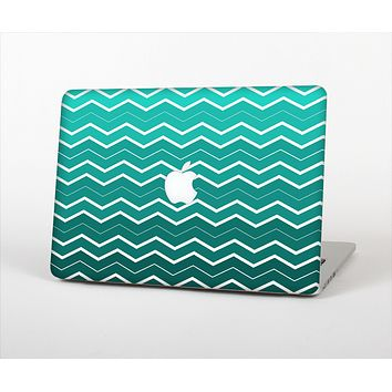 "The Teal Gradient Layered Chevron Skin Set for the Apple MacBook Pro 13"" with Retina Display"