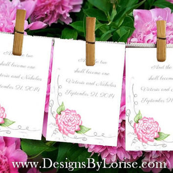 12 Wedding  Favor Seed or Tea Packets Pink Peony design. Personalized Free, from original hand painted art. Also great as gift tags!