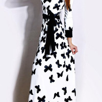White Butterfly Print Long Sleeve Maxi Dress with Belt