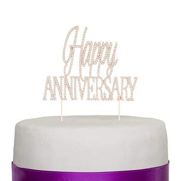Happy Anniversary Cake Topper - Rose Gold