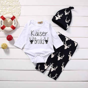 3PCS Newborn Baby Boys Girls Tops Romper +Reindeer Pants Hat Clothes Outfits Set baby first christmas outfit