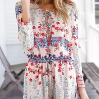 Retro Flower Printed  Long Sleeve Jumpsuits