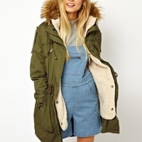 ASOS Faux Fur Hooded Detachable Lined Parka - Khaki