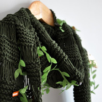 Olive Green Woodland Scarf Eco Friendly Cowl earth tones