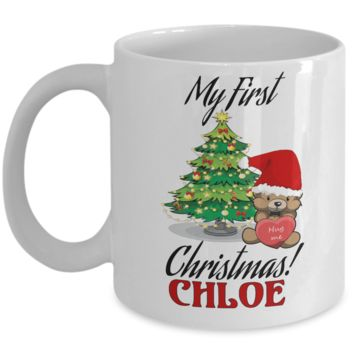 First Name Personalized X-Mas 2016 Hug Me Babies Elf Santa Candy Mug - Christmas Gift Mom & Dad - Fun Personalization Gift For Baby & Parents