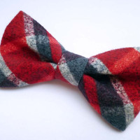 Red Plaid Clip On Bow Tie, Mens Bow Tie, Ready to Gift , Plaid Flannel Cotton Bow Tie Clip On