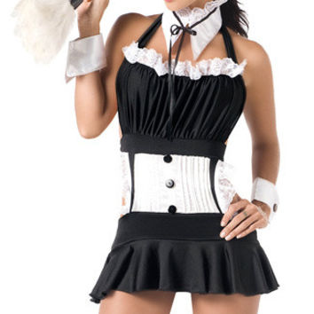 French Maid Halter Ruched Ruffled Costume Set