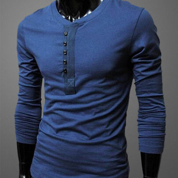Mens Long Sleeve Button Up T-Shirt -6 Colors