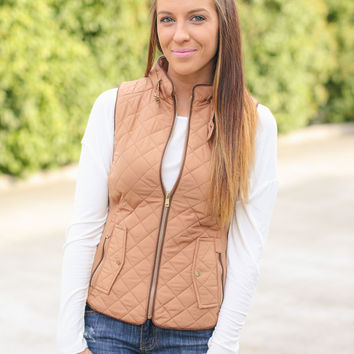 Quilted Riding Vest - Camel