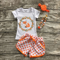 Clothes baby kids summer suit orange gold dot fox short shorts boutique with matching bow and necklace set