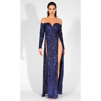 So Bewitching Navy Blue Sequin Long Sleeve Off The Shoulder V Neck Double Slit Maxi Dress