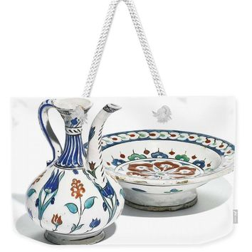 An Ottoman Iznik Style Floral Design Pottery Polychrome, By Adam Asar, No 4 - Weekender Tote Bag