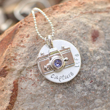 Camera necklace  Capture life hand stamped by brandedheart on Etsy