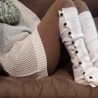 Off White Slouchy Button Down Leg Warmers w/Ivory Knit Lace