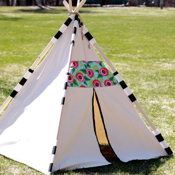Bora Bora Teepee, Aqua Pink and Black, Poles Included, Custom Order