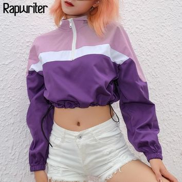 Rapwriter Casual Turtleneck Panelled Drawstring Hem Bomber Jackets Women 2019 Spring Long Sleeve Slim Front Zipper Crop Tops
