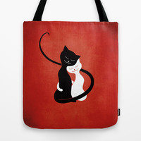 White And Black Cats In Love (red) Tote Bag by Boriana Giormova