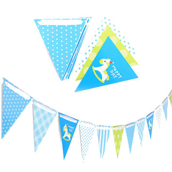 3 Meters Blue Dot Horse Pennant Bunting Flags Banners Kids Baby Boys Girl Birthday Decoration Party Favors Event Party Supplies